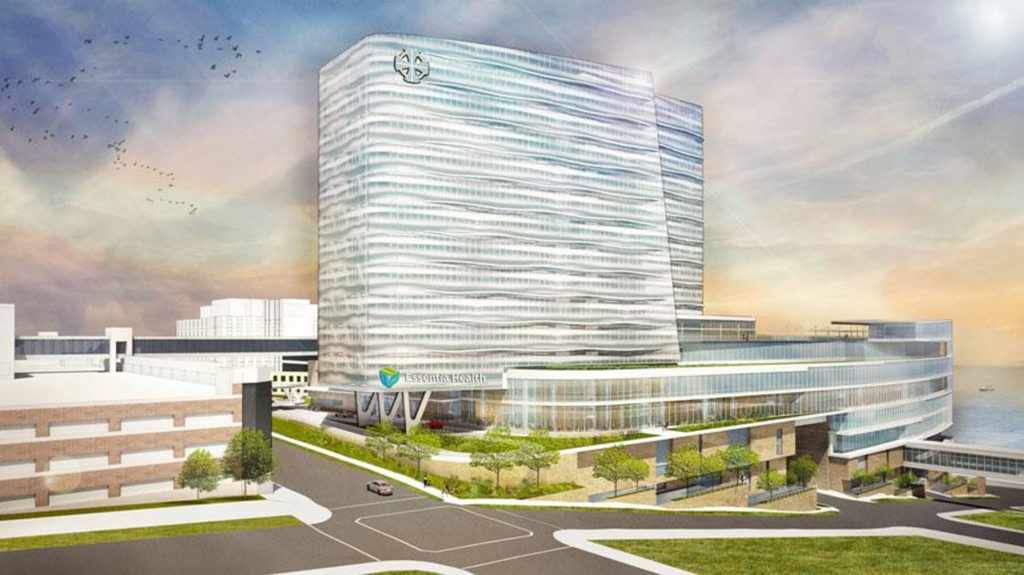 Artist conception of the new St. Mary's Medical Center that will replace the old structure.