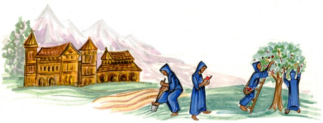 Drawing of monks working in the field with a monastery in the background