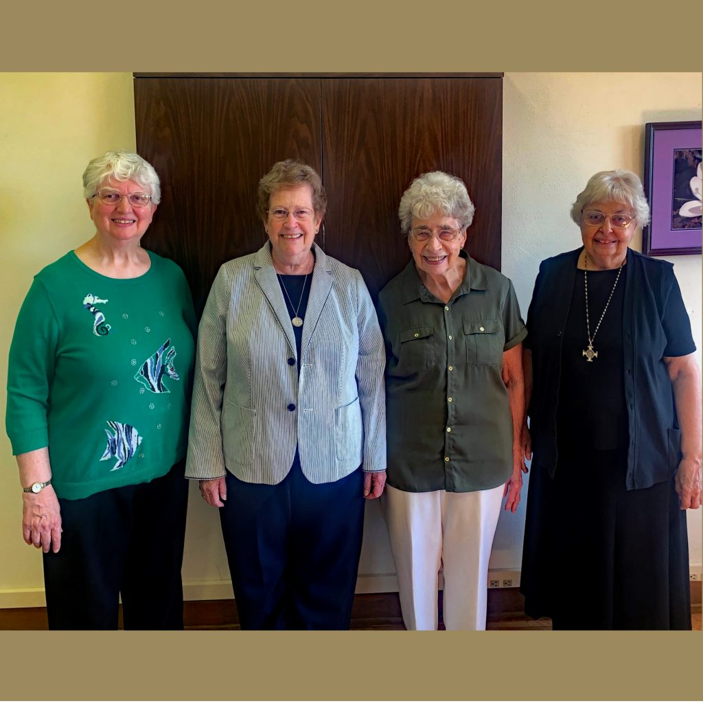 The Administrative team includes (left to right) Sister Beverly Raway, Prioress; Sister Danile Lynch, Treasurer; Sister Beverly Horn, Sub-prioress; and Sister Claudia Cherro, Administrative Assistant. Not pictured is Sister Helen Giesen, Monastery Coordinator.